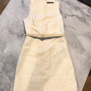 Ellen Tracy Cream jacquard dress